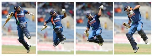 This combo picture shows Yuvraj Singh leaping in the air after scoring a century during the first ODI against the West Indies at the Sabina Park. (AFP Photo)