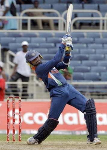 Harbhajan Singh plays a shot during the first ODI against the West Indies at Sabina Park. (AP Photo)