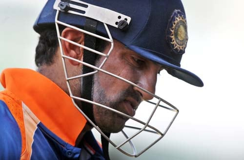 Gautam Gambhir dejectedly leaves the field after being dismissed off Ravi Rampaul during the second One-Day International match between West Indies and India in Kingston. (AFP Photo)