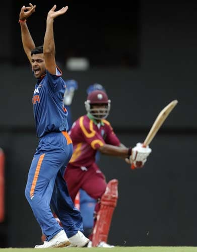 Rudra Pratap Singh appeals for a call against the West Indies during the the third ODI match at the Beausejour ground in Gros-Islet, St Lucia. (AFP Photo)