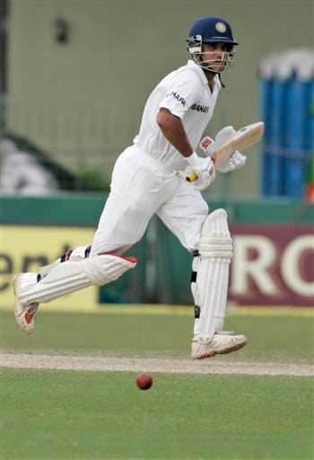 Sourav Ganguly runs between wickets during the third day's play of the first cricket Test match between Sri Lanka and India in Colombo on Friday, July 25, 2008.