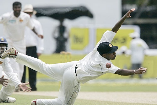 Thilan Samaraweera dives unsuccessfully to catch a ball off Ishant Sharma during fourth day of the first Test between Sri Lanka and India in Colombo, Sri Lanka on July 26, 2008.