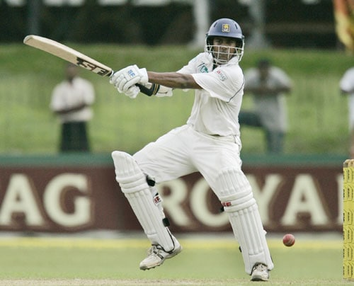Malinda Warnapura bats during the second day of the first Test against India in Colombo, Sri Lanka on July 24, 2008.