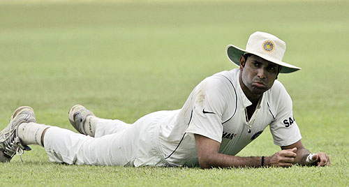 VVS Laxman looks on after diving unsuccessfully for a catch off Malinda Warnapura during the second day of the first Test match in Colombo, Sri Lanka on July 24, 2008.