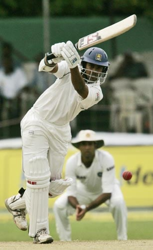 Sri Lanka's Malinda Warnapura drives against India on Day 1 of the first Test at the SSC Stadium on Wednesday.