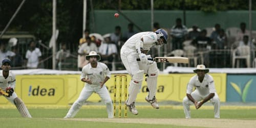 Malinda Warnapura ducks a bouncer against India on Day 1 of the first Test at the SSC Stadium on Wednesday.