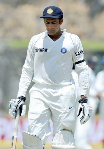 Anil Kumble walks back to the pavilion after his dismissal during the second day of the second Test match between India and Sri Lanka in Galle on August 1, 2008. (AFP Photo)
