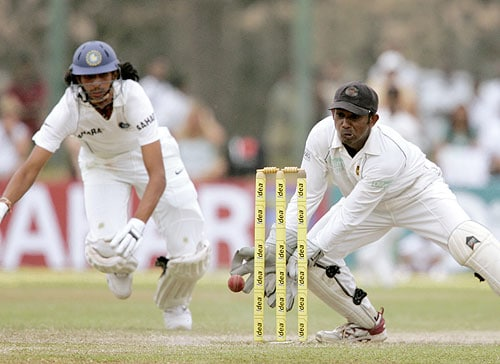 Ishant Sharma unsuccessfully tries to avoid a run out as Prasanna Jayawardene removes the bails during fourth day of the second Test between India and Sri Lanka in Galle on August 3, 2008.