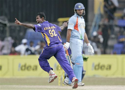 Nuwan Kulasekera celebrates the wicket of Yuvraj Singh during the third One-Day International of five match series against India in Colombo.