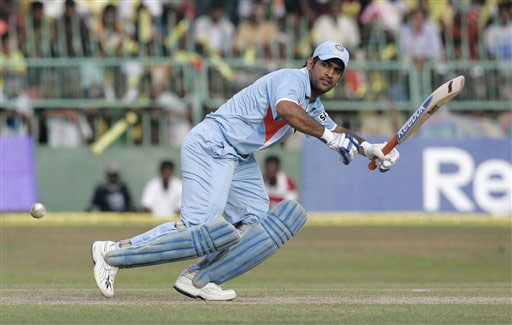 Mahendra Singh Dhoni bats during the third One-Day International of five match series against Sri Lanka in Colombo.