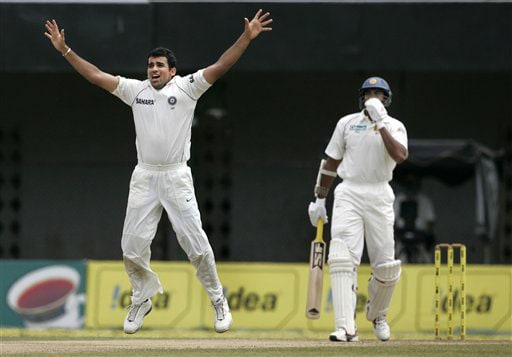 Zaheer Khan celebrates the dismissal of Michael Vandort during the second day of the third Test between India and Sri Lanka in Colombo on August 9, 2008.