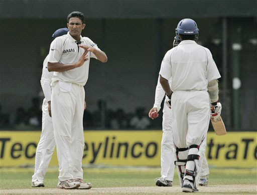 Anil Kumble appeals unsuccessfully for the third umpire's decision for the dismissal of Kumar Sangakkara during the second day of the third Test between India and Sri Lanka in Colombo on August 9, 2008.