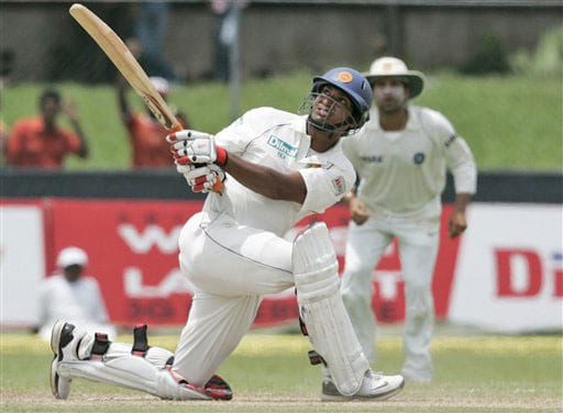 Kumar Sangakkara bats during the second day of the third Test between India and Sri Lanka in Colombo on August 9, 2008.