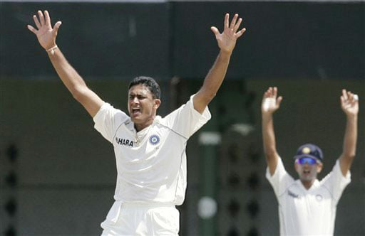 Anil Kumble unsuccessfully appeals for the wicket of Kumar Sangakkara during the third day's play of the third and final Test in Colombo on August 10, 2008.