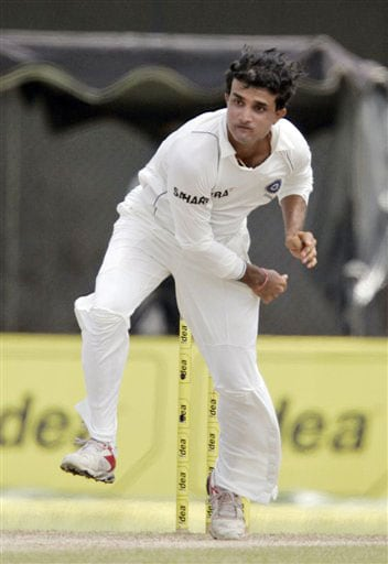Sourav Ganguly delivers a ball during the third day's play of the third and final Test against Sri Lanka in Colombo on August 10, 2008.