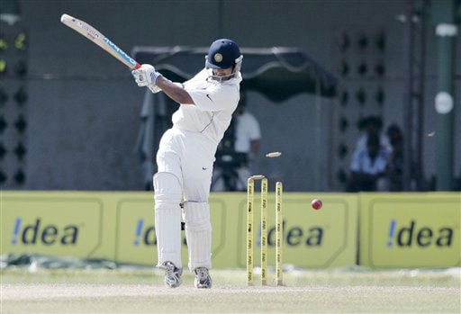 Gautam Gambhir is bowled out by Dhammika Prasad during the third day's play of the final Test in Colombo on August 10, 2008.