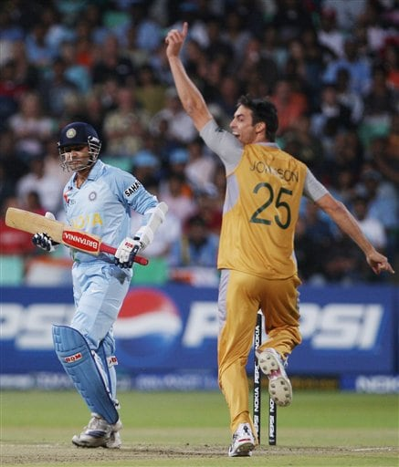 Australia's Mitchell Johnson, right, celebrates the dismissal of India's Virender Sehwag during their Twenty20 World Championship Cricket match in Durban, South Africa, Saturday, Sept. 22, 2007.