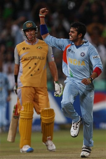 India's S. Sreesanth, right celebrates the dismissal of Australia's Adam Gilchrist, unseen, as Gilchrist's team mate Mathew Hayden looks on, during their Twenty20 World Championship Cricket match in Durban, South Africa, Saturday, Sept. 22, 2007.