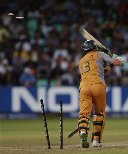 Australia's Adam Gilchrist is bowled by India's S.Sreesanth during their Twenty20 World Championship Cricket match in Durban, South Africa, Saturday, Sept. 22, 2007.