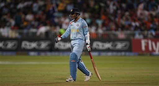 India's Virender Sehwag leaves the ground after Australia's Mitchell Johnson took his wicket during their Twenty20 World Championship Cricket match in Durban, South Africa, Saturday, Sept. 22, 2007.