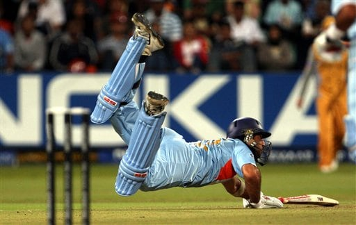 India's Yuvraj Singh dives to avoid a run out against Australia during their Twenty20 World Championship Cricket match in Durban, South Africa, Saturday, Sept. 22, 2007.
