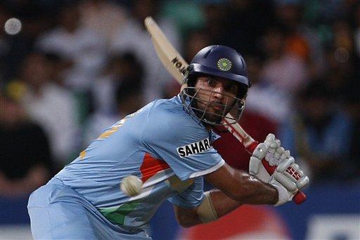 India's Yuvraj SIngh plays a shot against Australia during their Twenty20 World Championship Cricket match in Durban, South Africa, Saturday, Sept. 22, 2007.