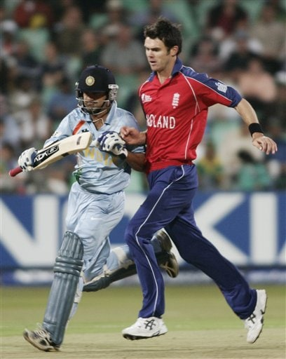 India's Gautam Gambhir, left and England's James Anderson collide with each other during their Twenty20 World Championship Cricket match in Durban, South Africa, Wednesday, Sept. 19, 2007.