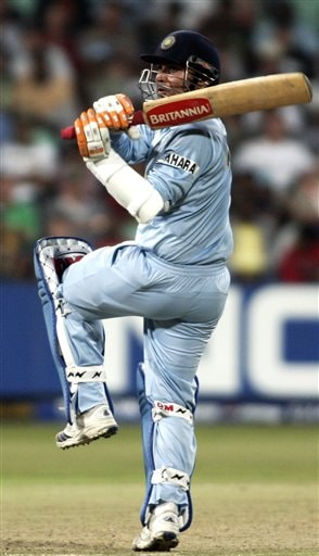 India's Virender Sehwag plays a shot against England during their Twenty20 World Championship Cricket match in Durban, South Africa, Wednesday, Sept. 19, 2007.