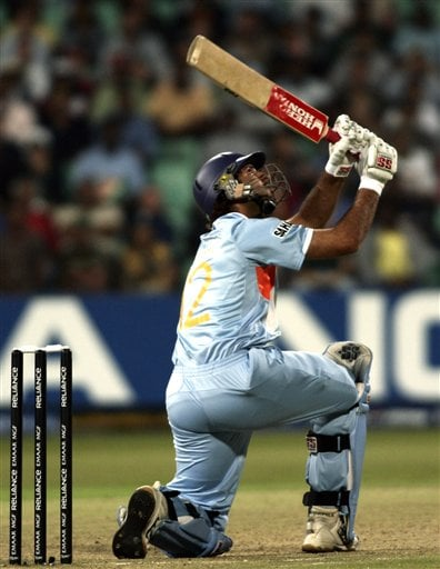 India's Yuvraj SIngh plays a shot for six runs against England during their Twenty20 World Championship Cricket match in Durban, South Africa, Wednesday, Sept. 19, 2007. Singh became the first player in Twenty20 cricket to hit six sixes in an over Wednesday.
