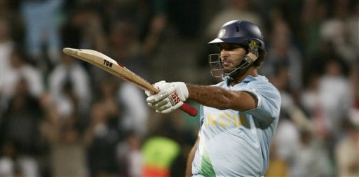 India's Yuvraj SIngh celebrate his six sixes in an over against England during their Twenty20 World Championship Cricket match in Durban, South Africa, Wednesday, Sept. 19, 2007. Singh became the first player in Twenty20 cricket to hit six sixes in an over Wednesday.