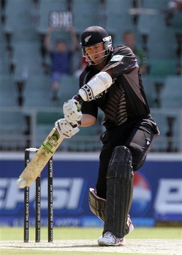 New Zealand's batsman Brendon McCullum, plays a shot during their Super Eight's Twenty20 World Championship cricket match against India at the Wanderers Stadium in Johannesburg, South Africa, Sunday, Sept. 16, 2007.