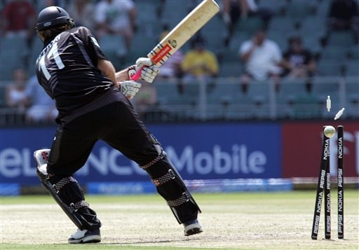 New Zealand's captain Daniel Vettori, is bowled by India's bowler RP Singh, unseen, for 15 runs during their Super Eight's Twenty20 World Championship cricket match against India at the Wanderers Stadium in Johannesburg, South Africa, Sunday, Sept. 16, 2007.