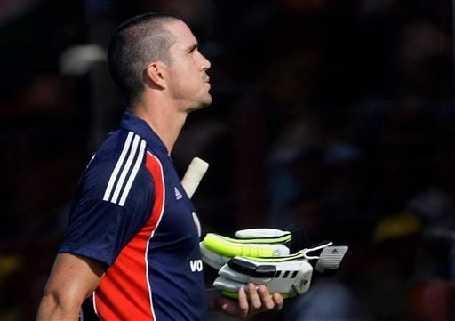 England captain Kevin Pietersen walks back to the pavilion after being dismissed during the first ODI match between India and England in Rajkot on Friday. (AP Photo)