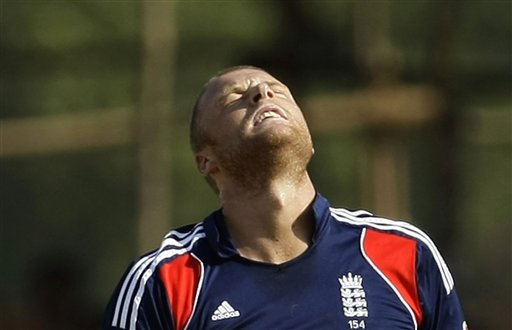 England bowler Andrew Flintoff reacts after Indian batsman Virender Sehwag scored a boundary off his bowling during their first ODI match in Rajkot on Friday. (AP Photo)