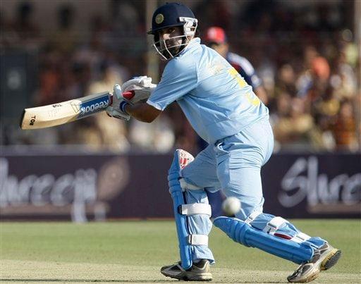 Indian batsman Gautam Gambhir plays a shot during the first ODI match between India and England in Rajkot on Friday. (AP Photo)