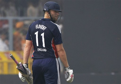 England batsman Andrew Flintoff walks back after he was dismissed during the third ODI between India and England in Kanpur on Thursday. (AP Photo)