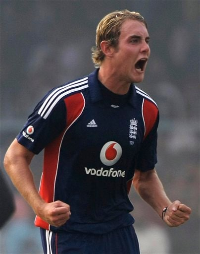 England's bowler Stuart Broad reacts after he dismissed India batsman Suresh Raina during the third ODI between India and England in Kanpur on Thursday. (AP Photo)