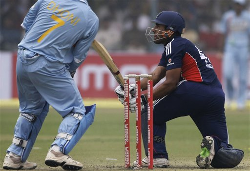 England's batsman Ravi Bopara plays a shot during the third ODI between India and England in Kanpur on Thursday.(AP Photo)