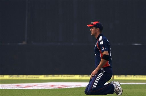 England's captain Kevin Pietersen looks on after fielding a shot during the third ODI between India and England in Kanpur on Thursday. (AP Photo)