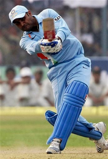 Indian batsman Virender Sehwag bats during the third ODI between India and England in Kanpur on Thursday. (AP Photo)