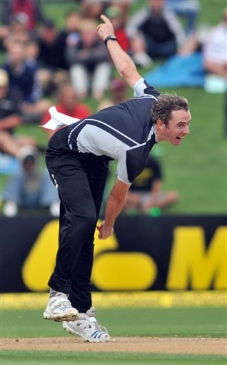 Iain O'Brien bowls against India in their 1st one-day international match at McLean Park in Napier on Tuesday, March 3, 2009. (AP Photo)