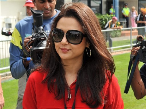 Bollywood actress and Kings XI Punjab co-owner Preity Zinta at the opening one-dayer between India and New Zealand at McLean Park in Napier. (AP Photo)