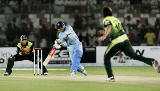 Virender Sehwag plays a shot for a boundary off a delivery from Pakistani all-rounder Shahid Afridi during their Asia Cup match at National Stadium in Karachi, Pakistan on June 26, 2008.