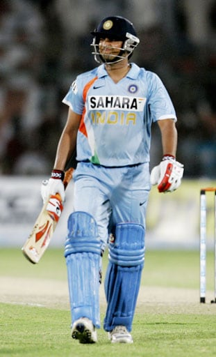 Suresh Raina reacts after being dismissed on 84 run by Pakistani pacer Rao Iftikhar during their Asia Cup match at National Stadium in Karachi, Pakistan on June 26, 2008.