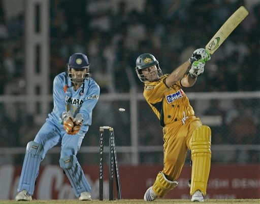 Australia's captain Ricky Ponting is clean-bowled by India's Irfan Pathan as captain Mahendra Dhoni looks on during the Twenty/20 match against India in Mumbai, India, Saturday Oct 20, 2007.