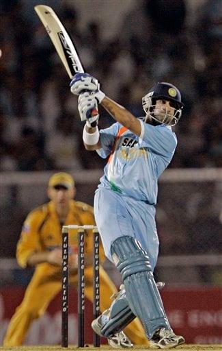 Indian cricketer Gautam Gambhir bats during the Twenty20 match against Australia in Mumbai, India, Saturday, Oct. 20, 2007.