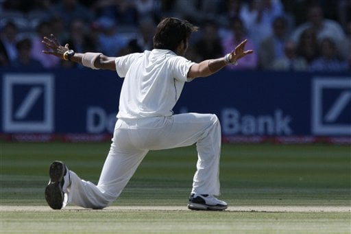 India's Shanthakumaran Sreesanth appeals for the wicket of England's Kevin Pietersen during the forth day of the first Test at Lord's cricket ground, London on Sunday.