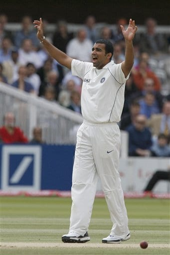 India's Zaheer Khan appeals for a wicket during the fourth day of the first Test Match at Lord's cricket ground, London on Sunday.