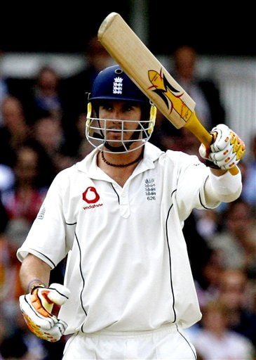 England's Kevin Pietersen reaches his 50 during the fourth day of the first Test Match against India at Lord's cricket ground, London on Sunday.