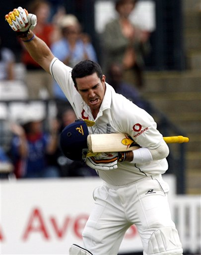 England's Kevin Pietersen celebrates his 100 during the forth day of the first Test against India at Lord's cricket ground in London on Sunday.